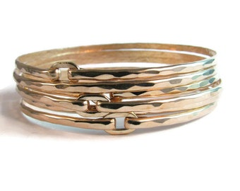 Hammered Bronze Bangle Bracelet Set - Gold Toned Bangle Braclets - Summer Jewelery - Boho Chic - Festival Jewelry - Modern Romance