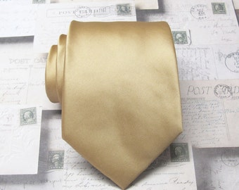 Gold Tie. Wedding Ties. Mens Tie Dusty Gold Mens Neckties
