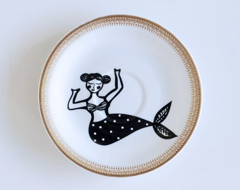 Mermaid screenprinted small vintage plate