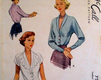 Vintage 1940s Blouse Pattern McCall 7598 New Look Blouse Flutter Collar Shawl Collar Jabot Bust 32