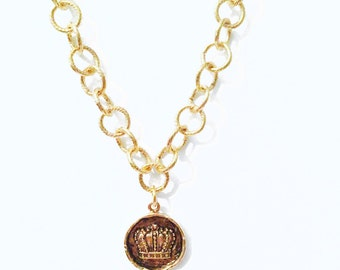 King Queen Crown Pendant Charm Gold Chain Bride Bridesmaid Jewelry Necklace