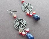 Lapis Lazuli Teardrop Flower Medallion Silver Earrings