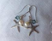 oO OCEAN Oo silver starfish white freshwater pearls blue swarovski earrings