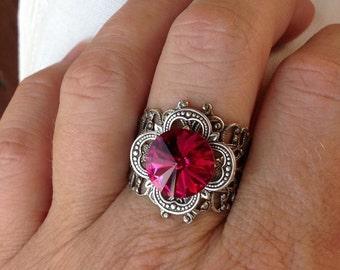 sO SUGAR DROP Oso fushia rivoli silver medieval ring