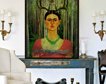 Frida Kahlo Art Print Instant Digital Download After The Little Deer Forest Owl Mixed Media Collage Black White Pink Green Small to Poster