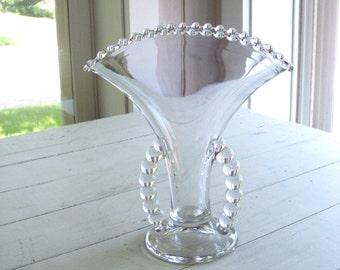 Vintage Candlewick Glass Fan Vase
