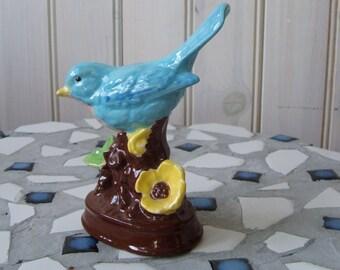 vintage ceramic blue bird figurine