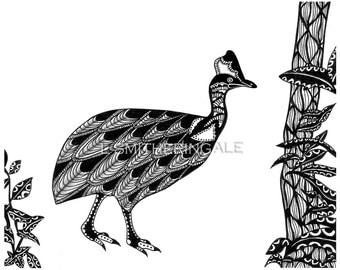 Zentangle-Inpired Cassowary Print - Unmatted