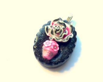 Lolita Day of the Dead Sugar Skull Pendant in Pink and Black Rose