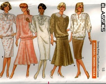 Vintage 80s Dress Top Skirt Sewing Pattern - Pullover Dress Jewel Neck Front Tucks -Pencil or Flared Skirt - Butterick 5769 Plus Size 18