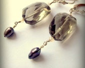 Smokey Quartz Pearl Silver Earrings Dawn Breaks