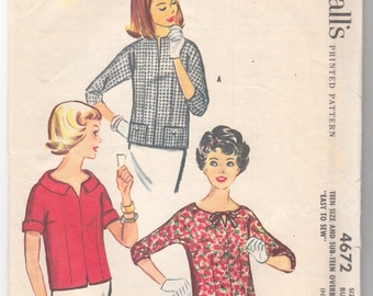 """1960's Vintage Sewing Pattern Ladies' Over Blouses McCall's 4672 33"""" Bust - Free Pattern Grading E-book Included"""