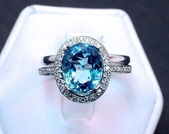 AAA Natural Blue Topaz   10x8mm  3.55 Carats   14K white gold diamond bridal set(.48ct) Ring 0875 B108P