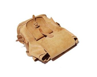 Vintage Tan Leather Large Backpack