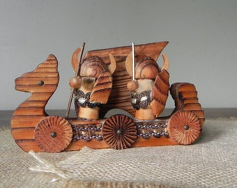 Vintage wood viking ship and figures made in japan mid century modern