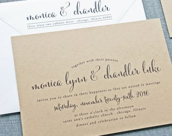 Monica Calligraphy Script Recycled Kraft Wedding Invitation Sample - Rustic Wedding Invite