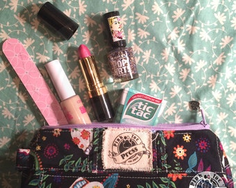 CALAVERA Pencil Pouch or Makeup Bag Lined and Quilted: Sugar Skull Design