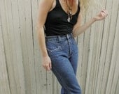 High Waisted Denim Jeans // Star Studded // Blue // Western Style // Bell Bottoms Flairs // 1980's 1990's // XXS XS