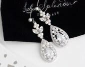 Crystal Bridal Earrings Teardrop Wedding Earrings Cubic Zirconia Long Earrings Wedding Jewelry Swarovski Crystal Wedding Jewelry VIVIENNE