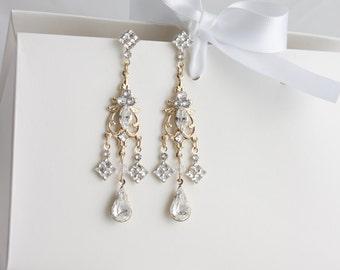 Crystal Wedding Earrings Gold Chandelier Earrings Long Dangle Bridal Earrings Art Deco style Wedding Jewelry  BETHANY