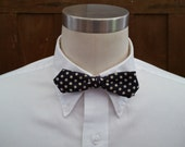 Vintage Navy Polka Dot Haband Clip On Bow Tie Great Retro Style Guy Gift Formalware
