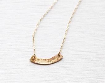 Hammered Gold Bar Necklace, Gold Necklace, Initial Necklace, Dainty Gold Necklace, Simple Gold Necklace, Layering Necklace, Initial Necklace