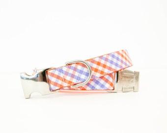 Dog Collar - Clemson Tigers Tri-Check Plaid