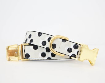 Black and White Polka Dot Dog Collar