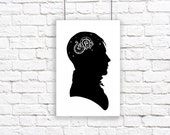 Stars Constellation Silhouette Large Print HIs Mind Is Full of Stars Astronomy Night Sky Black and White Dragon