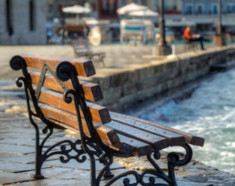 Fine Art Photography on Canvas or Print: Bench, Chania, Crete