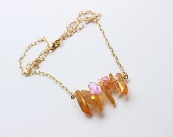 Peaches and Honey Iridescent Crystal Necklace
