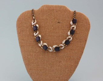 Star Tulip Thermoset Necklace in Navy Blue and Silver- Vintage Costume Jewelry