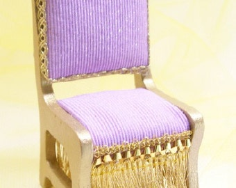 Purple Chair Gold Lilac Fantasy Dollhouse Miniature 1:12 Scale Artisan