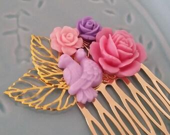 Purple Pink Love Birds Hair Comb -Small Fascinator-Offbeat Wedding-Woodland Bride-Bird Theme Accessory-Gold Comb-Bridesmaid Hair-Floral Comb