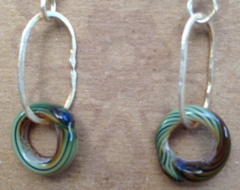 Antique Striped Green lampwork beads on pure silver loop Earrings