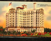 The Floridian Hotel, Miami Beach, Florida  Vintage Linen Postcard 1943