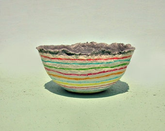 Gray and Cream Paper Mache Catchall Bowl with Colorful Stripes: Bliss