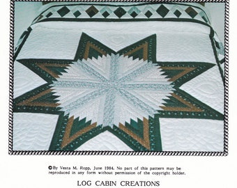Log Cabin Quilt Pattern Diamond Border Dated 1984