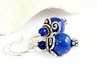 Lapis Earring/Blue Lapis Lazuli Earring/Lapis Lazuli Jewelry/Genuine Bali Silver Earring/Silver Lapis Earring/Balinese Jewelry/Bali Jewelry