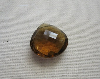 Large Cognac Quartz Faceted Heart Bead 17.25x17.25mm - Gemstone Focal Pendant