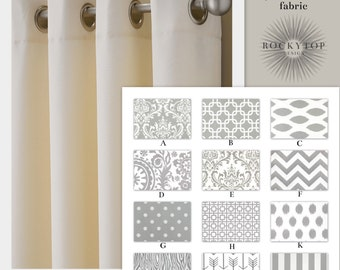 """54"""" Wide Gray and White Curtains 64"""", 84"""", 96"""" and Up Window Panels, Draperies- Blackout Available"""