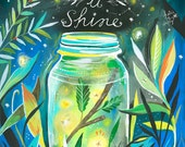 Let it Shine Art Print | Fireflies | Outdoorsy Wall Art | Nursery Decor | Katie Daisy | 8x10 | 11x14