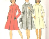 Simplicity 5928 1970s  Misses Look Slimmer Princess COAT Pattern Womens Vintage Sewing Pattern Size 14 Bust 36 Or 18.5 & 20.5 Or 18 or 12