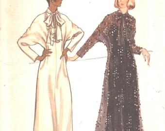 Vogue 8736 1970s Misses Dolman Sleeve Evening Dress Pattern Overdress Slip Dress Womens Vintage Sewing Pattern Size 14 Bust 36 OR 12 Bust 34