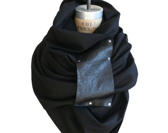 black wool scarf, blanket scarf, wraps shawls, large scarves, women's men's winter accessories, fall fashion