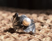 Nature ring, silver engagement ring, leaf ring, boho ring, pearl ring, vine ring, leaves ring, silver ring, bohemian - Swirling leaves R1697