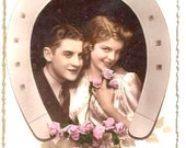 Vintage - LOVERS couple, Lucky HORSESHOE, PORTRAIT- Wishes for Lovers- French colored real Photo Postcard- Art Deco- front Good condition
