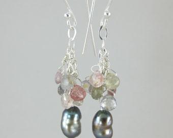 sapphire Tahitian keshi pearl cascade earrings FREE SHIP