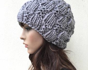 Hand Knit Hat Womens Hat Beret Grey Knit Hat Womens Accessories