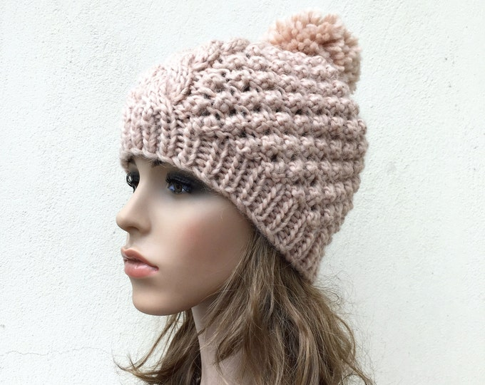 Hand Knit Hat wool Beret Hat with Pom Pom in Wheat